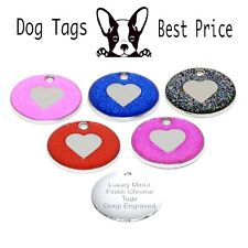 Personalised Engraved Glitter Heart Tag Dog Cat Reflective Pet ID Tags