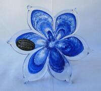 Genuine Italian Art Blown Glass Flower Murano BLUE SPARKLE made in Italy No 705