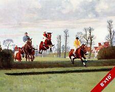 ENGLISH HORSE JOCKEY RACE RACING JUMPING HEDGES ART PAINTING REAL CANVAS PRINT