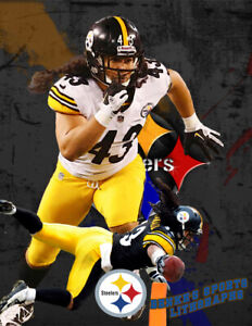Pittsburgh Steelers  Lithograph print of  Troy Polamalu