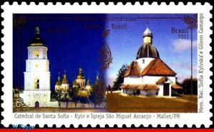 3183 BRAZIL 2011 JOINT ISSUE WITH UKRAINE, CHURCHES ARCHITECTURE, RHM C-3110 MNH
