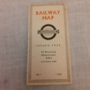 Vintage London Underground Railway Map 1935 Free map No1