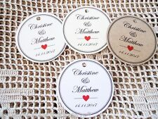 10 Kraft White Gift Tags Wedding Favour Bomboniere Personalised round Circle W2