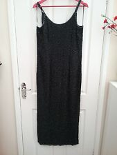 Wallis Womens Black Strappy  Beaded Maxi Dress Size 14 Length 58 inches