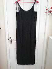 Wallis Womens Black Beaded Strappy Beaded Maxi Dress Size 14 Length 58 inches