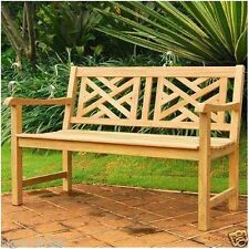 """100% Teak Wood Outdoor Yard Chippendale Bench Seat Chair 48""""L x 25 1/2""""D x 34""""H"""