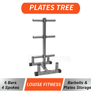 Olympic Barbell Plate Storage Rack Weight Bar Tree Stand Home Gym Heavy Duty