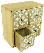 Cabinet Solid Wood 4 Drawers Storage Organiser Wall Hang Table Top Home Office