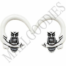 0682 Spiral Owl Taper Expander Stretcher Plugs Gauges Hoops 00G 10mm White Black