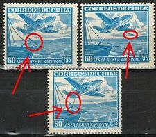 Chile 1955 #506 Ship and Plane MNH with color line
