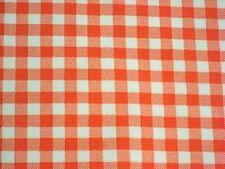 ORANGE GINGHAM CHECK KITCHEN PATIO DINE BBQ OILCLOTH VINYL TABLECLOTH 48x84 NEW