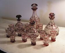 Ruby Cut To Clear Decanters and Tumblers Set