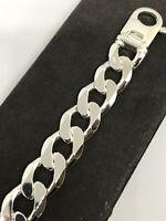 """925 Sterling Silver Solid Chunky Men 17mm CURB BRACELET 8.5"""" BRAND NEW"""