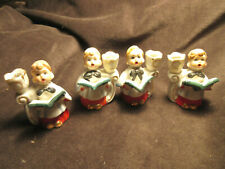 Four (4) Vintage Ceramic Christmas Carolers Candle Holder Ca