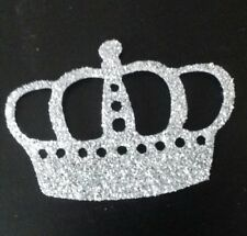 Hotfix iron on transfers 4 silver glitter crowns size 5cm x 3.5cm