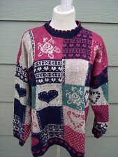 Adele Knitwear Sweater Sz S 44B Floral Squares Hearts Blue Red Green USA Made