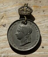 Queen Victoria Commemorative Golden Jubilee Medal~1887 Pewter~Crowned Pin~XFine