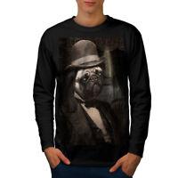 Wellcoda Sir Pug Cute Funny Dog Mens Long Sleeve T-shirt, Puppy Graphic Design