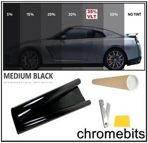 "BLACK WINDOW TINT FILM CAR VAN BUS TINTING MEDIUM SMOKE 35% 76cm x 3M  30X118"""