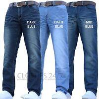 Mens Crosshatch Branded Designer Regular Fit Straight Leg Denim Jeans Pants Size