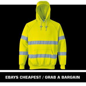 Men's Hi Vis Viz Yellow Orange Hoodie Sweatshirt PPE Hi Visibility