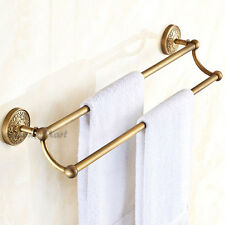 Bathroom Antique Carve Pattern Towel Shelf Rack Wall Mounted Double Rail Shelves