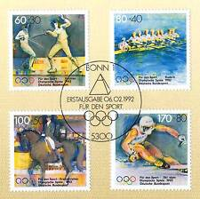 BRD 1992: Olympische Spiele Nr. 1592-1595! Bonner Ersttagssonderstempel! 1A 1611