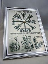 Viking Vegvisir Compass Design Silent Wall Clock - with Odin, Thor and Freyja
