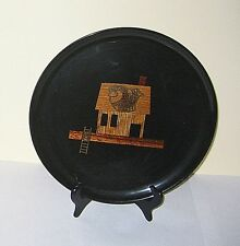 """Couroc Monterey  ROUND TRAY  - FGC """"Fresh Fish"""" house 10.5in inlaid wood metal"""