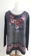 PUNT ROMA WOMEN'S FLORAL PRINT TOP LONG SLEEVE BLOUSE SIZE L MADE IN SPAIN