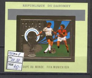 Soccer 1974 A32 Dahomey block foil FIFA Munich CV 40 eur