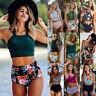 2019 New Women High Waist Bikini Tankini Floral Push-up Padded Swimsuit Swimwear
