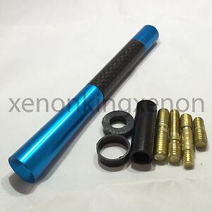 "JDM Style Short BLUE 5"" in/127 mm Carbon Fiber Screw Type Antenna #u6 Vehicles"