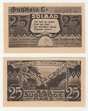 Germany 25 Pfennig 1921 Notgeld Bad Suderode UNC Uncirculated Banknote - C