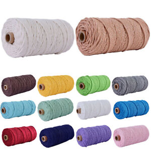 3mm 100m Natural Cotton Twisted Cord Craft Macrame Artisan Rope Craft String