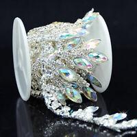 1 Yard AB Resin Rhinestone Trim Chain Drop Applique for Wedding Dress Cake Decor