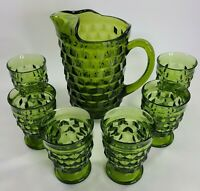 Vintage Indiana Whitehall Green Cubist Pitcher & 6 Footed Juice Glasses Set MCM
