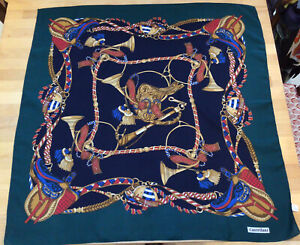 Large Vintage Luca Castellani Scarf equestrian theme, 1970s Great condition