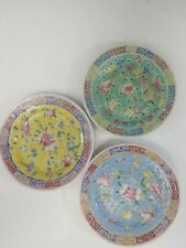 Three Antique Chinese Famille Rose Flower Dishes