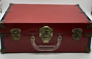 Vintage Red & Blue Roller Skate Carrying Case Metal Latch Clear Handle