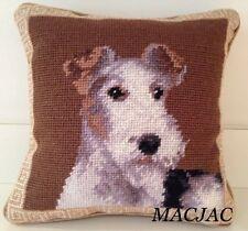 "Fox Terrier Dog Needlepoint Pillow 10""x10"" Nwt"