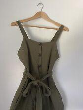 Rachel Zoe Women's Size 4 Olive Green Romper Crop Pants Jumpsuit 100% Cotton