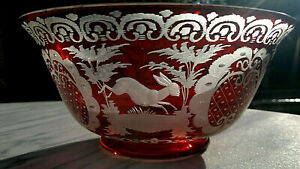 """Antique Bohemian Egerman Overlay Ruby ~ Clear Glass Bowl~Wild Hares~9"""" by 4""""tall"""