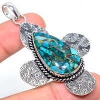 "Copper Azurite Gemstone Ethnic Handmade Gift Jewelry Pendant 2.80"" VK-5972"