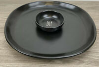 Black Rae Dunn Dip And Chip Platter Bowl Artisan Collection By Magenta