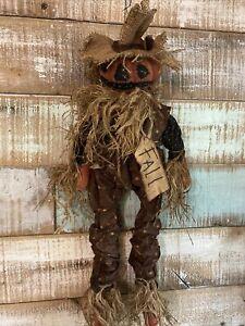 "Primitive Grungy Scarecrow Pumpkin Doll with Crow Farmhouse FAll Halloween 26"""