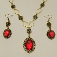 VICTORIAN STYLE - DIAMOND ROSE - RICH RED CRYSTAL GOLD PLATED NECKLACE SET DR