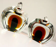 Murano Glas Apfel Buchstützen 3kg Sommerso Design Objekt Vintage Bookends 60er