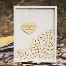 Personalized Couple Name &Date Rustic Drop Top Box Sign Heart Wedding Guest Book