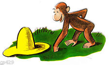"5"" Curious george monkey hat grass peel & stick wall border cut out character"